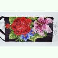 Лілеї, троянди, незабудки КЛ361кЧ. Пошитий чорний атласний клатч для вишивання бісером