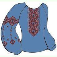 Льняная джинсовая женская вышиванка ВЖЛг-032-Дж