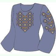 Льняная джинсовая женская вышиванка ВЖЛ-012-Дж