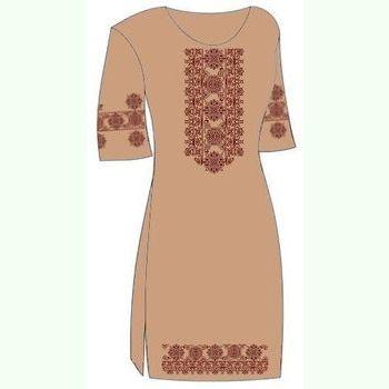 Льняное коричневое платье ПлЛ-004К-кр