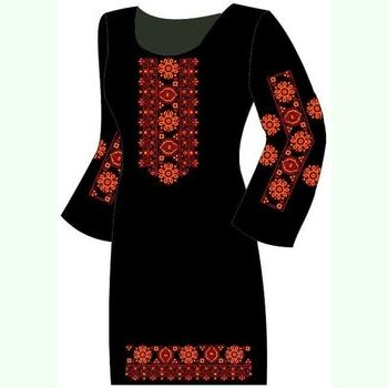 Льняное чёрное платье ПлЛ-004Ч-др