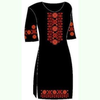 Льняное чёрное платье ПлЛ-004Ч-кр