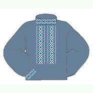 Льняная джинсовая мужская вышиванка ВМЛг-020-Дж