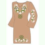 Льняное коричневое платье ПлЛ-010К