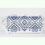 Пошитий білий шовковий клатч для вишивання бісером КЛш-034Б