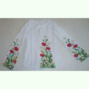 Женская белая льняная вышиванка