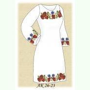Польовий Букет АК 26-23 ДЛ. Заготовка жіночої домотканої сукні кольору льону