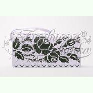 Троянди. Орнамент КЛ178кБ. Пошитий білий атласний клатч для вишивання бісером
