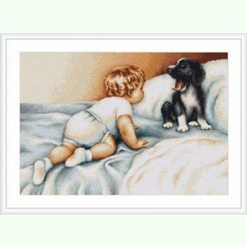 Мальчик с собакой B374