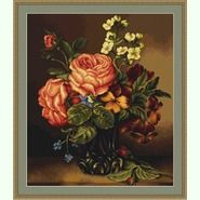 Ваза с розами и цветами B491