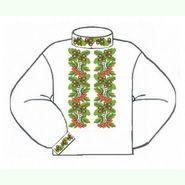 Бязевая белая мужская вышиванка ВМБ-001