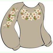 Льняная серая женская вышиванка ВЖЛ-021С