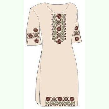 Домотканое бежевое платье ПлД-004-Беж-кр