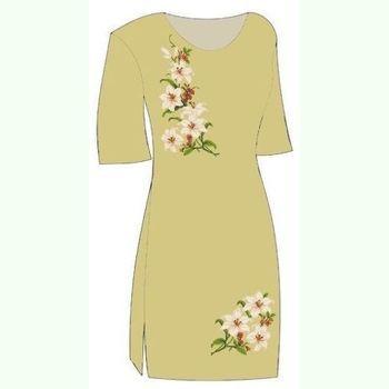 Льняное горчичное платье ПлЛ-001Г