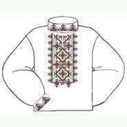 Бязевая белая мужская вышиванка ВМБ-018