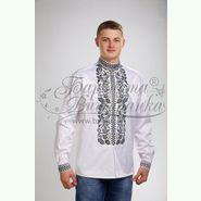 Атласна біла чоловіча вишиванка СЧ-028Б